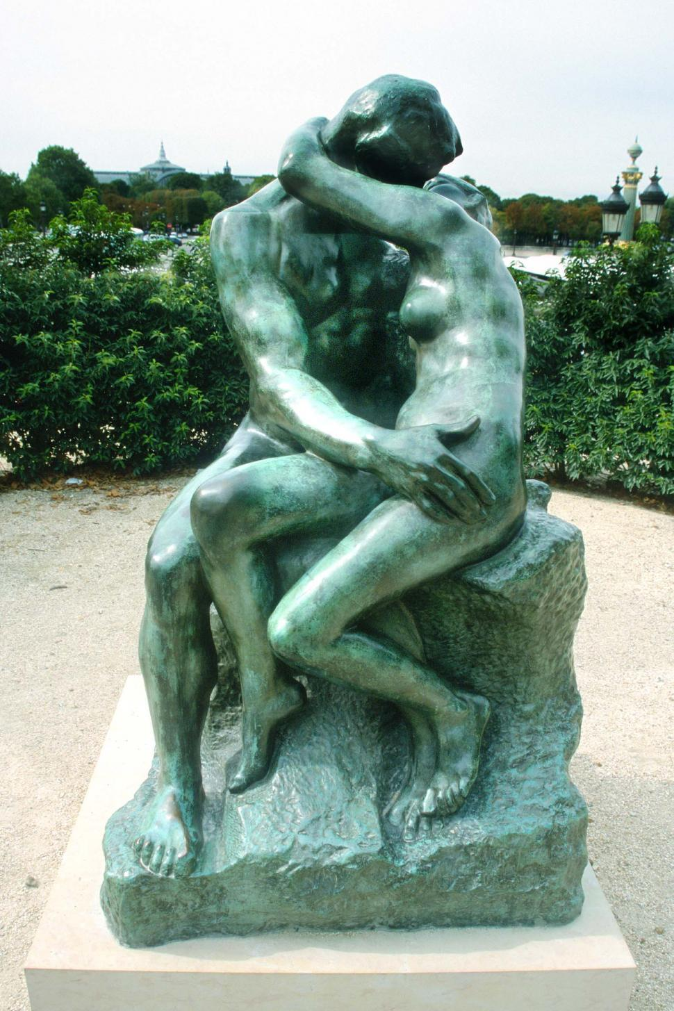 Download Free Stock Photo of france the kiss kissing kiss love landmark romance romantic bronze sculpture french europe european paris statue lovers Auguste Rodin couple