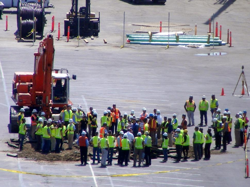 Download Free Stock Photo of Construction Safety Meeting