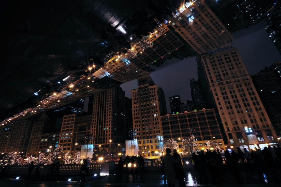 Download Free Stock Photo of Nighttime city reflection