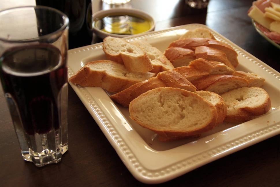Download Free Stock Photo of French Bread and Wine
