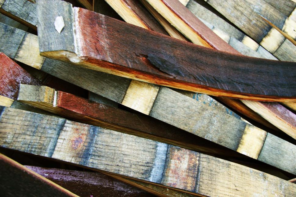 Download Free Stock Photo of Barrel staves in a pile