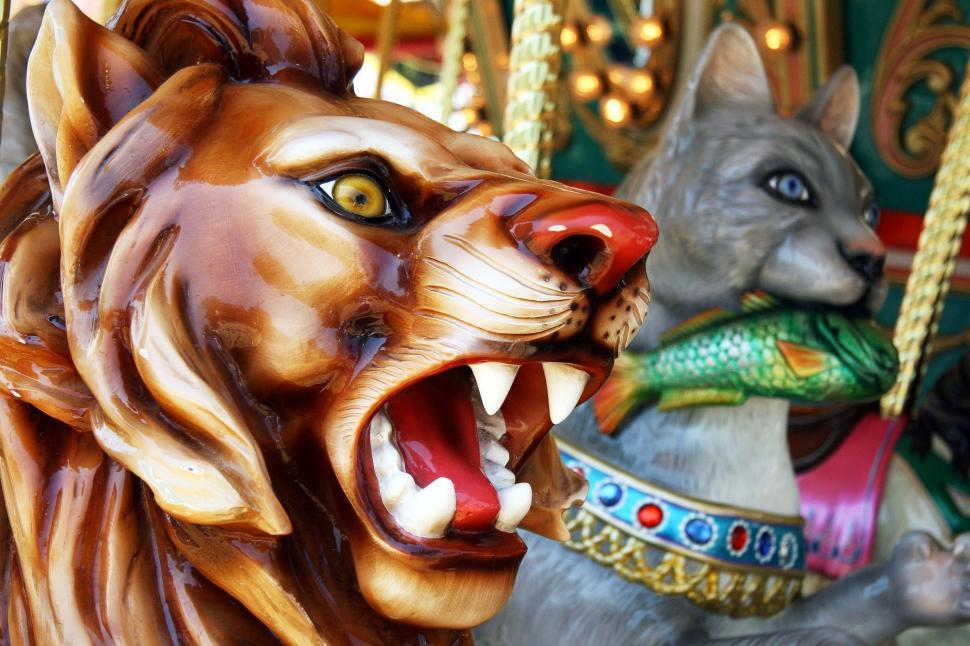 Download Free Stock Photo of Carousel ride heads