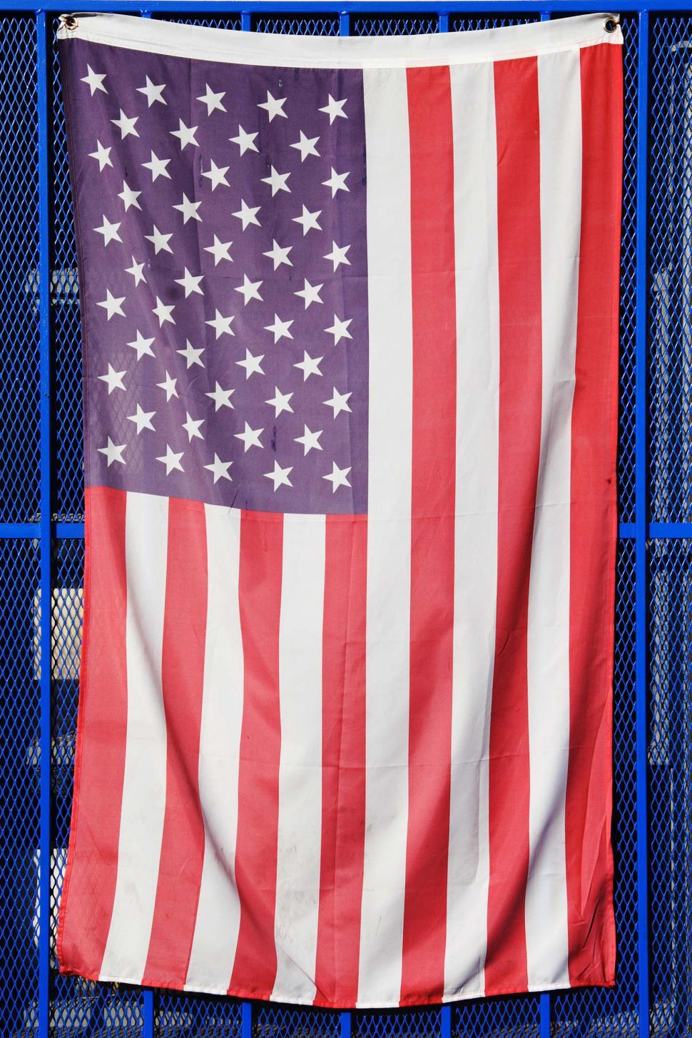 Download Free Stock Photo of Hanging American Flag