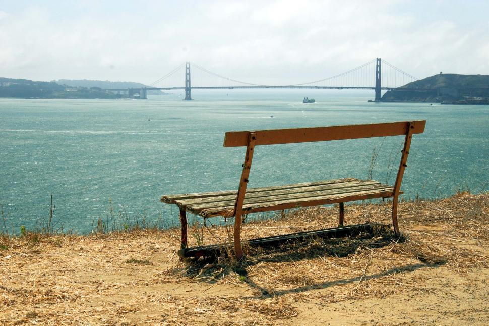 Download Free Stock HD Photo of Bench and the Golden Gate Online