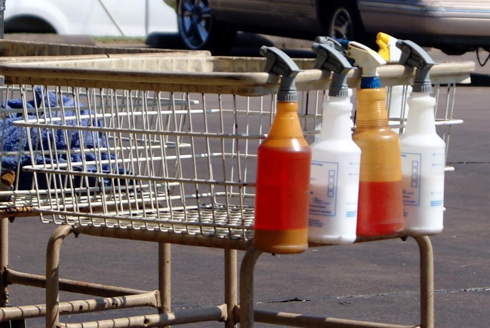 Download Free Stock Photo of Car detailing supplies on a cart