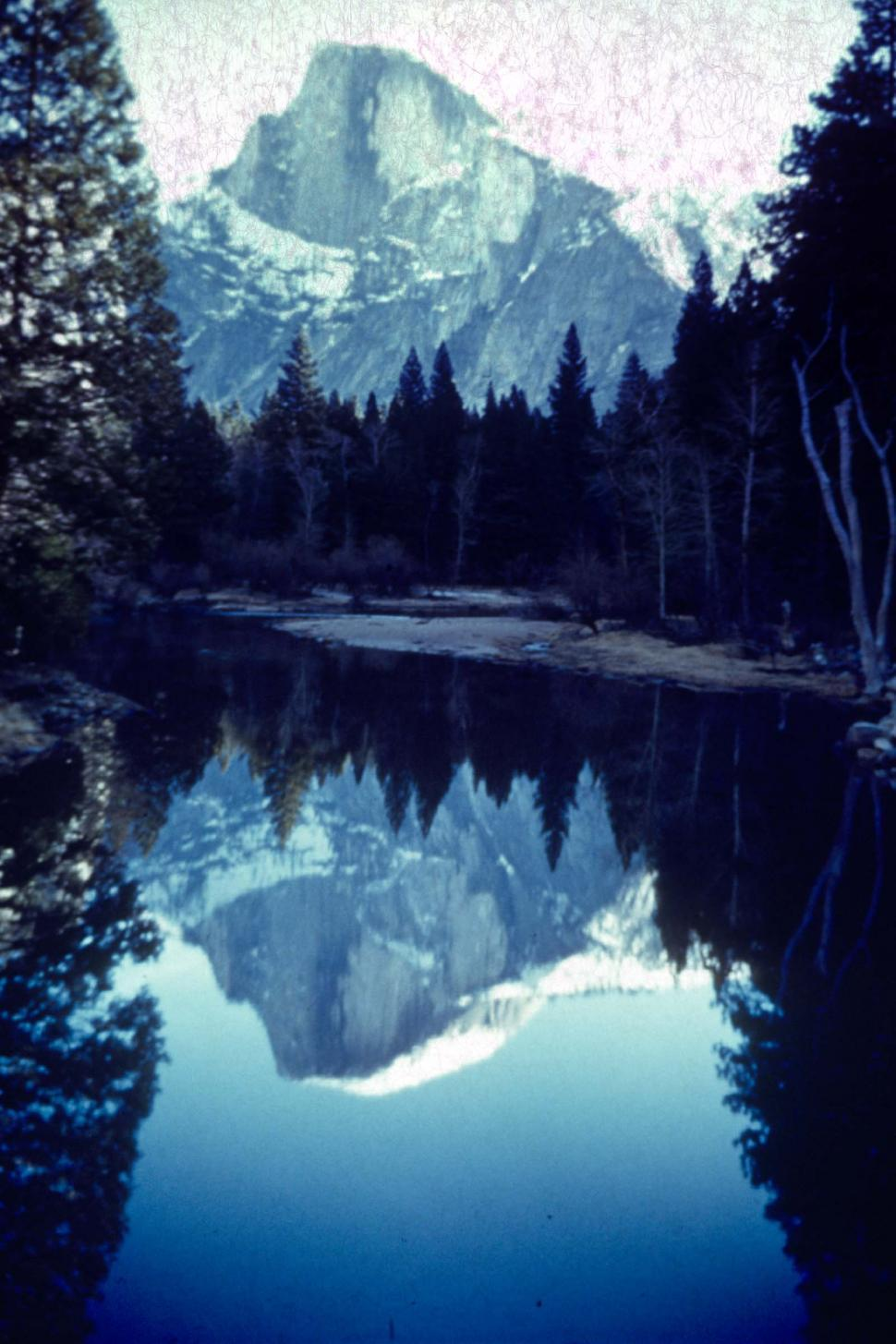 Download Free Stock Photo of yosemite half dome vintage photograph FACAT001 moutains lakes reflections cold snow snowy peak rockies rocky forest water still trees national park landscapes vintage photo