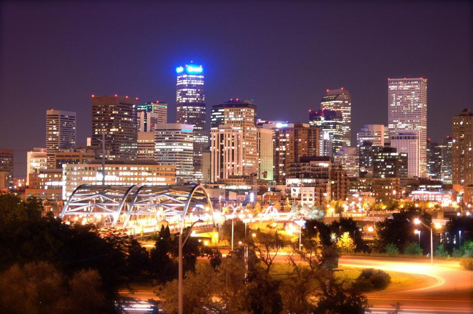 Download Free Stock Photo of Denver, Colorado Skyline at night