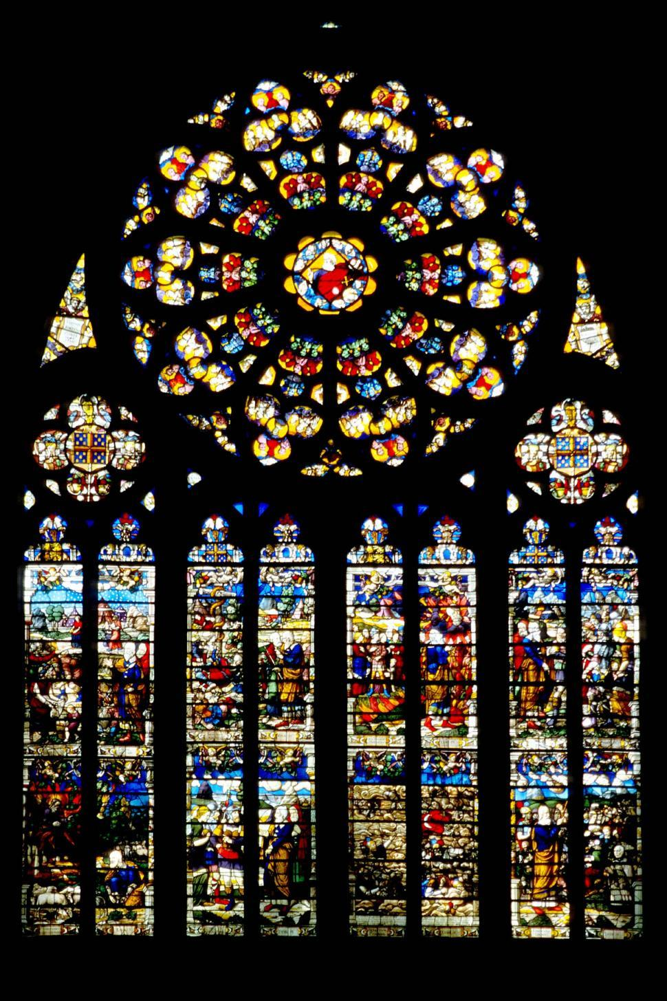 Download Free Stock Photo of france french europe european stained glass windows cathedral church religious colorful illuminated illustrations rosette panes panels colored mosaic