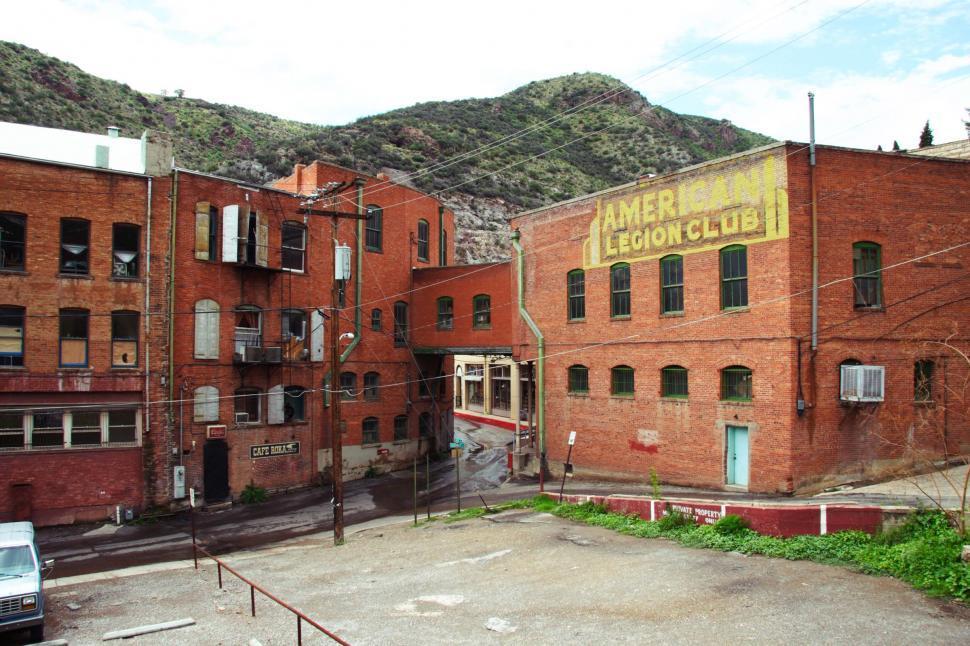 Download Free Stock Photo of Old brick buildings in Bisbee Arizona