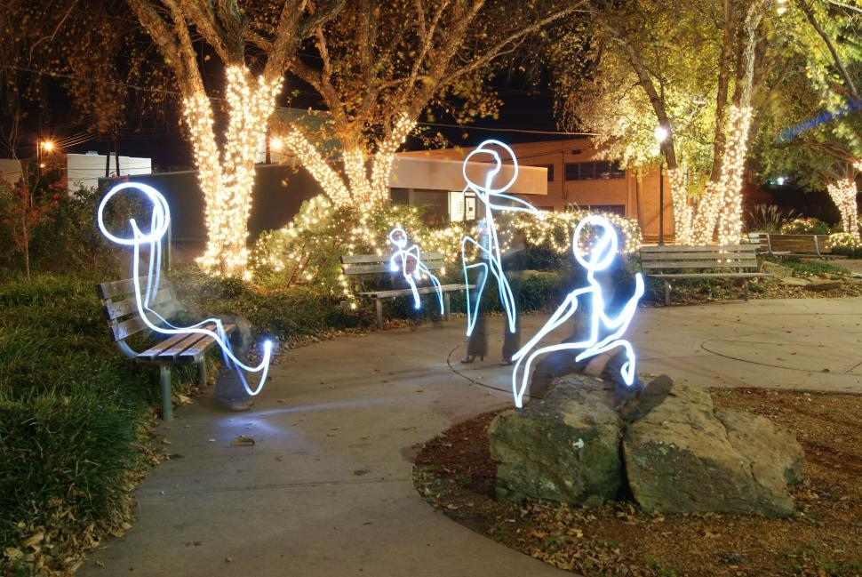 Download Free Stock HD Photo of Stick Figures painting with light photography Online