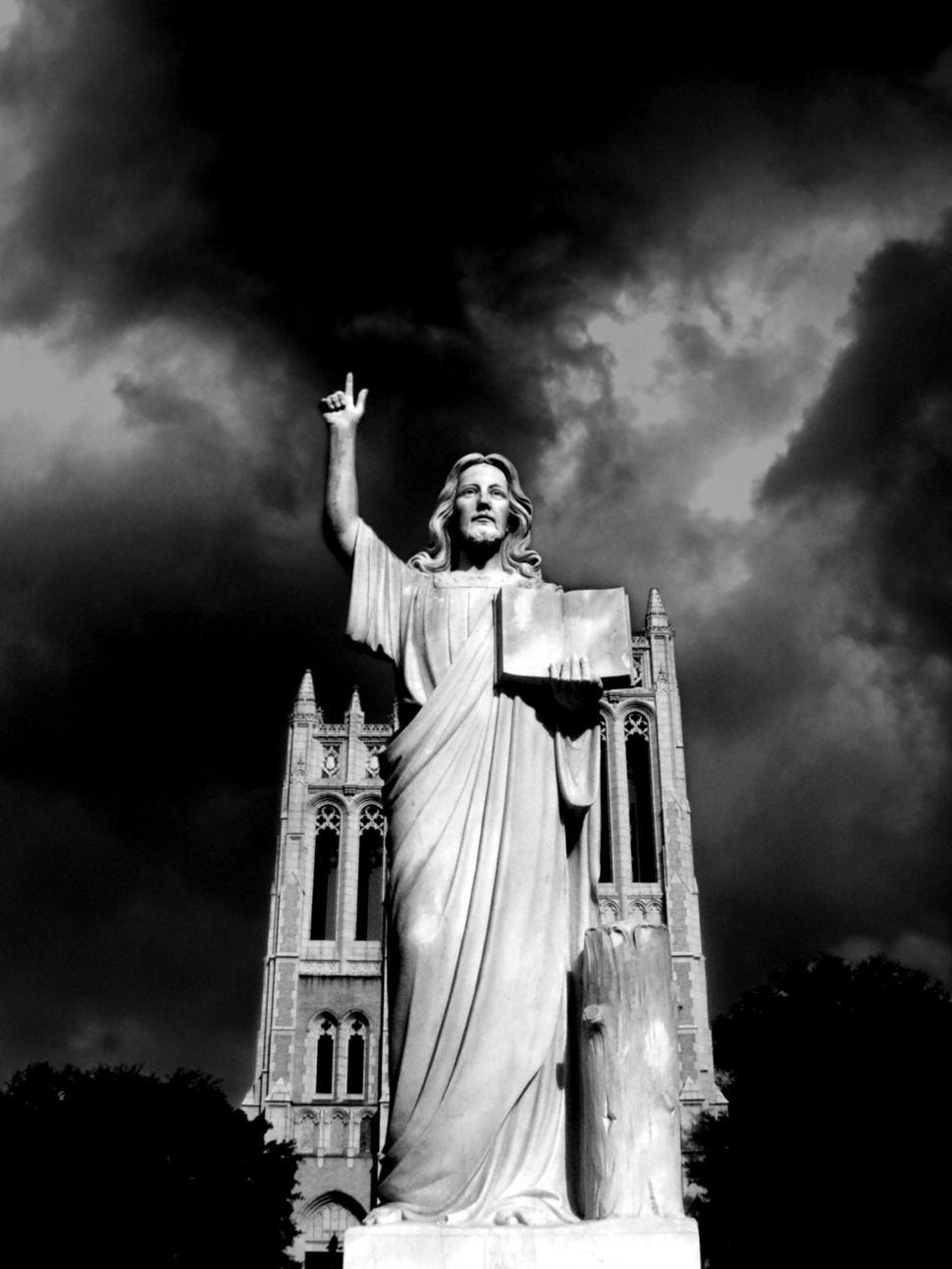 Download Free Stock Photo of Jesus and Dark Sky
