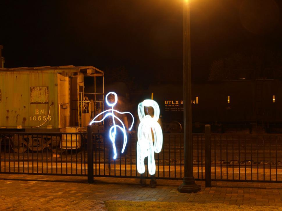 Download Free Stock Photo of Stick Figures painting with light photography