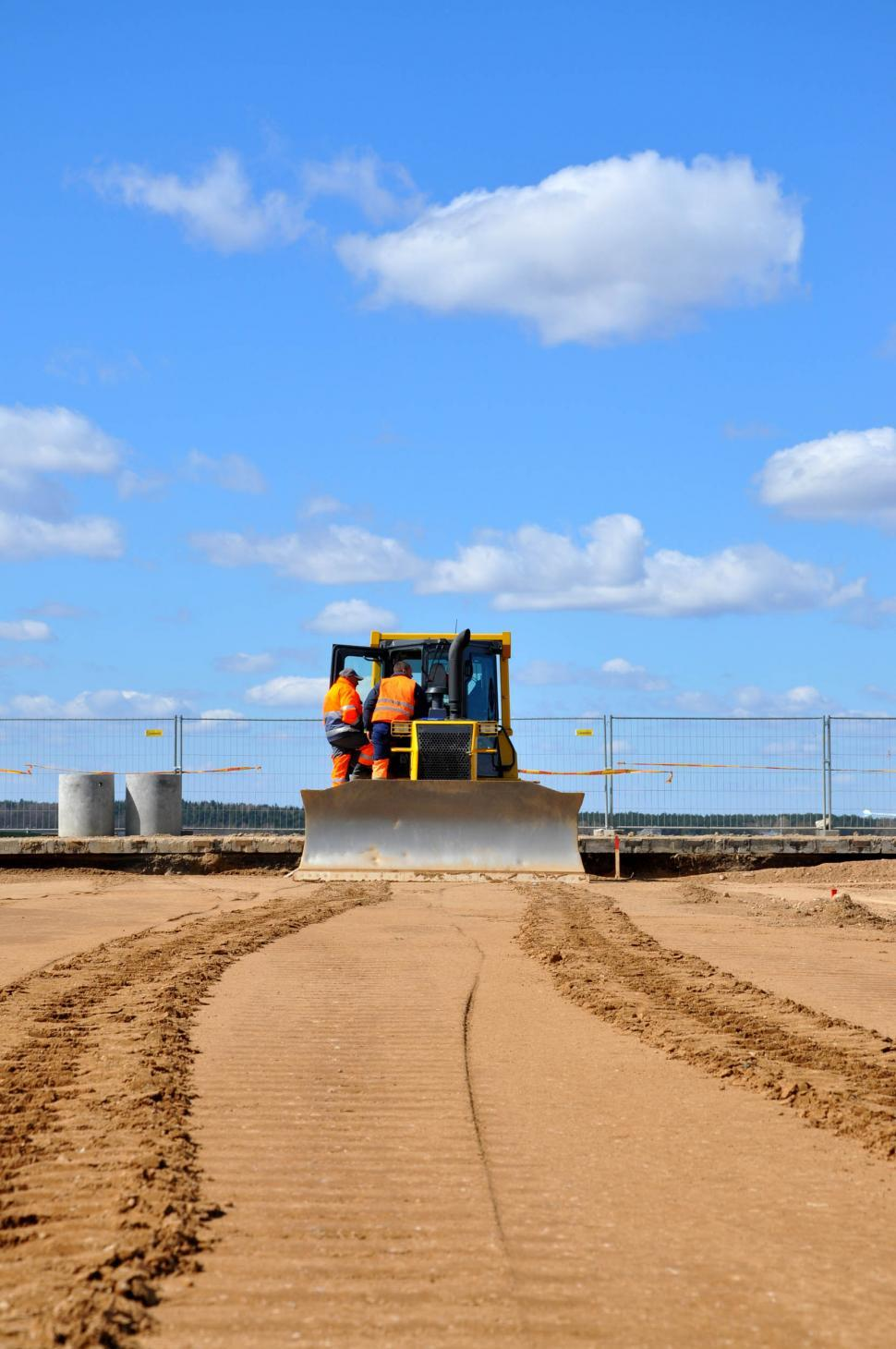 Download Free Stock Photo of Bulldozer and blue sky