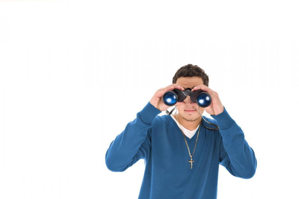 Download Free Stock Photo of Man with Binoculars