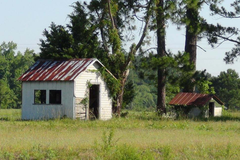 Download Free Stock HD Photo of Two Sheds in a Field Online