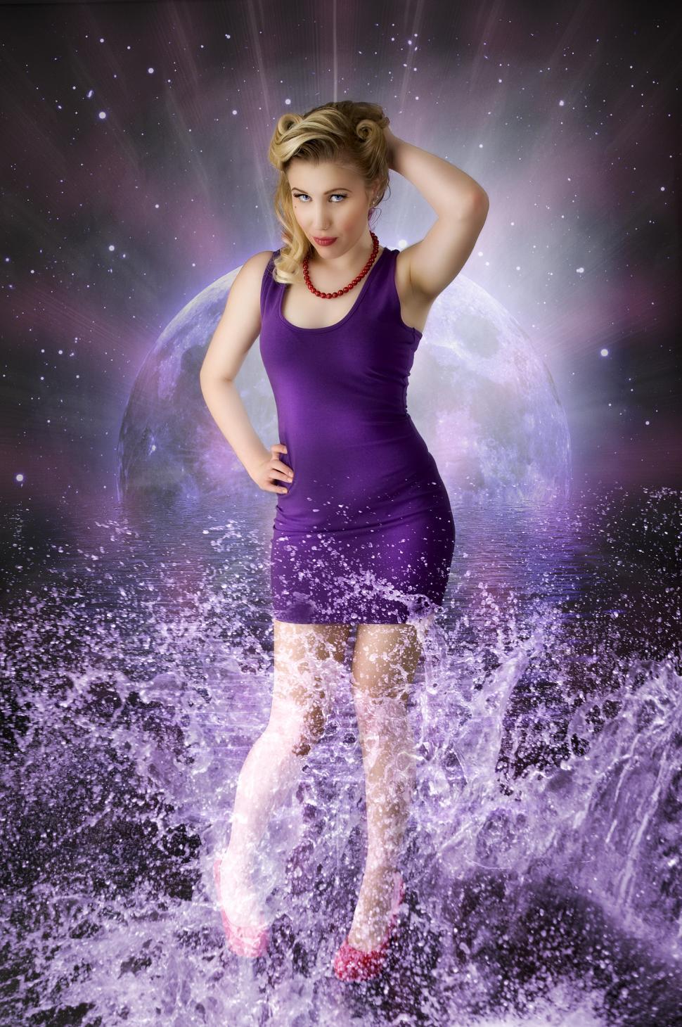 Download Free Stock Photo of Woman in space splash scene