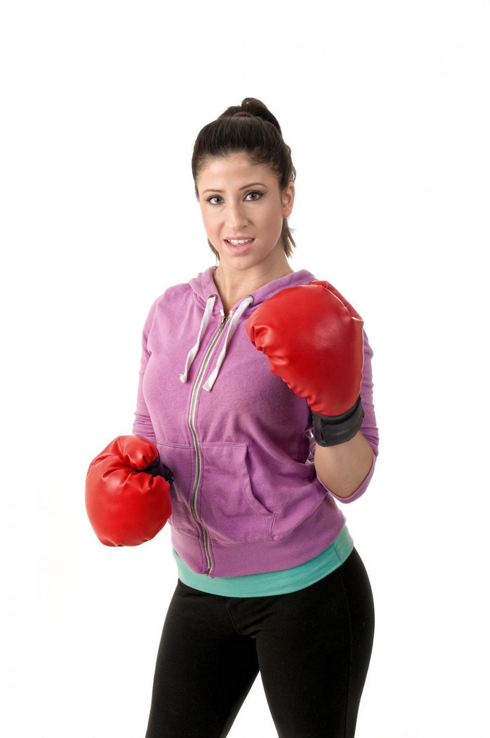 Download Free Stock Photo of Workout woman with boxing gloves