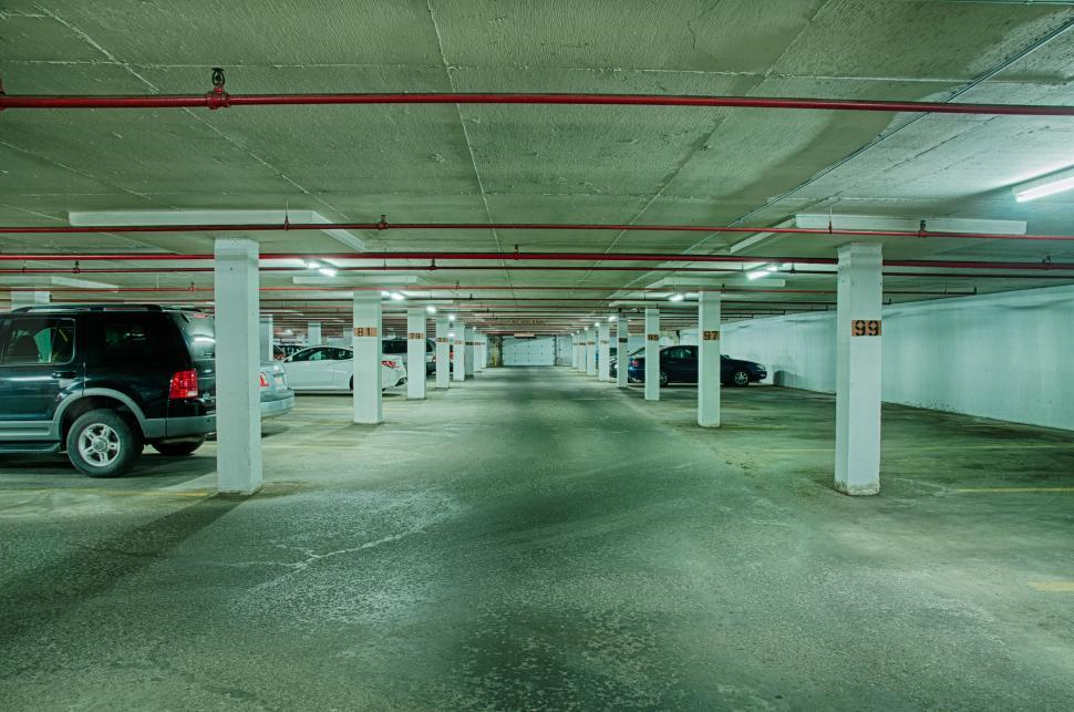 Download Free Stock Photo of Inside a Parking Garage