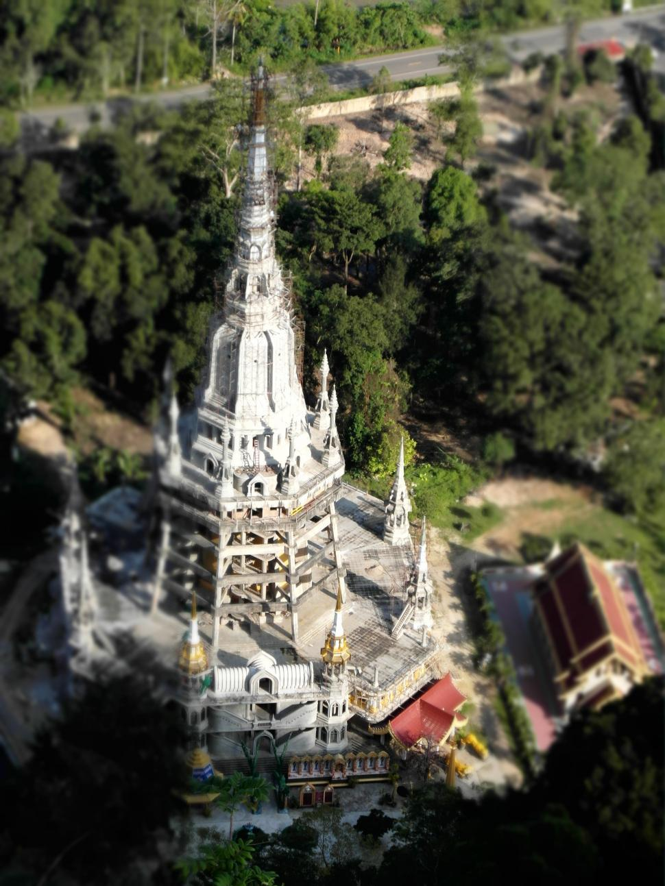 Download Free Stock HD Photo of Aerial of a Temple Tower with Miniature Effect Online