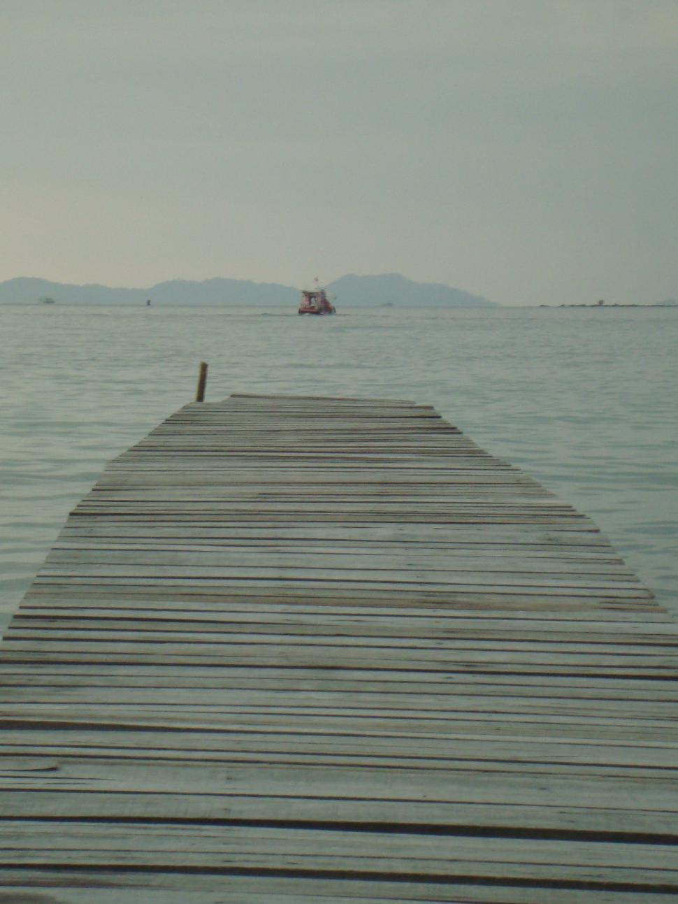 Download Free Stock Photo of Long Wooden Pier in Asia