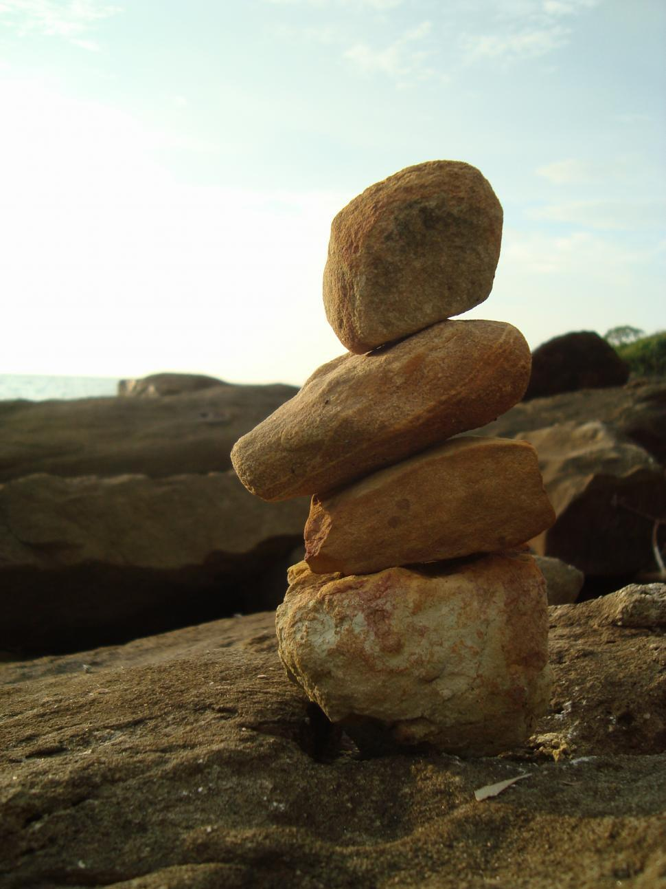 Download Free Stock Photo of Pebble Balance by the Sea