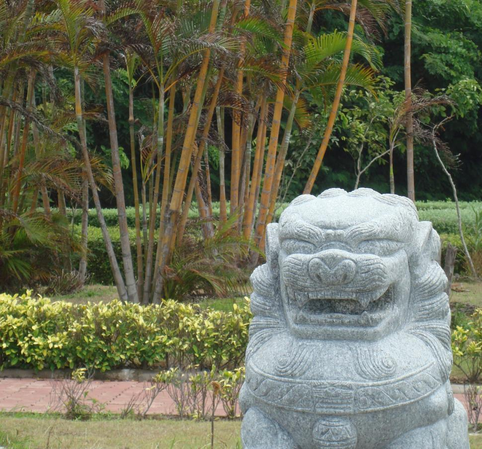Download Free Stock Photo of Chinese Lion Garden Feature