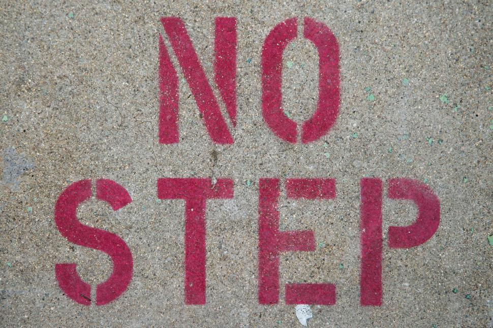 Download Free Stock Photo of Red Sign - No Step
