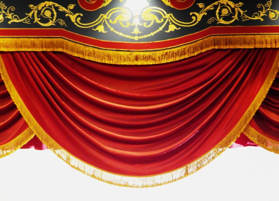 Download Free Stock Photo of Red stage curtain