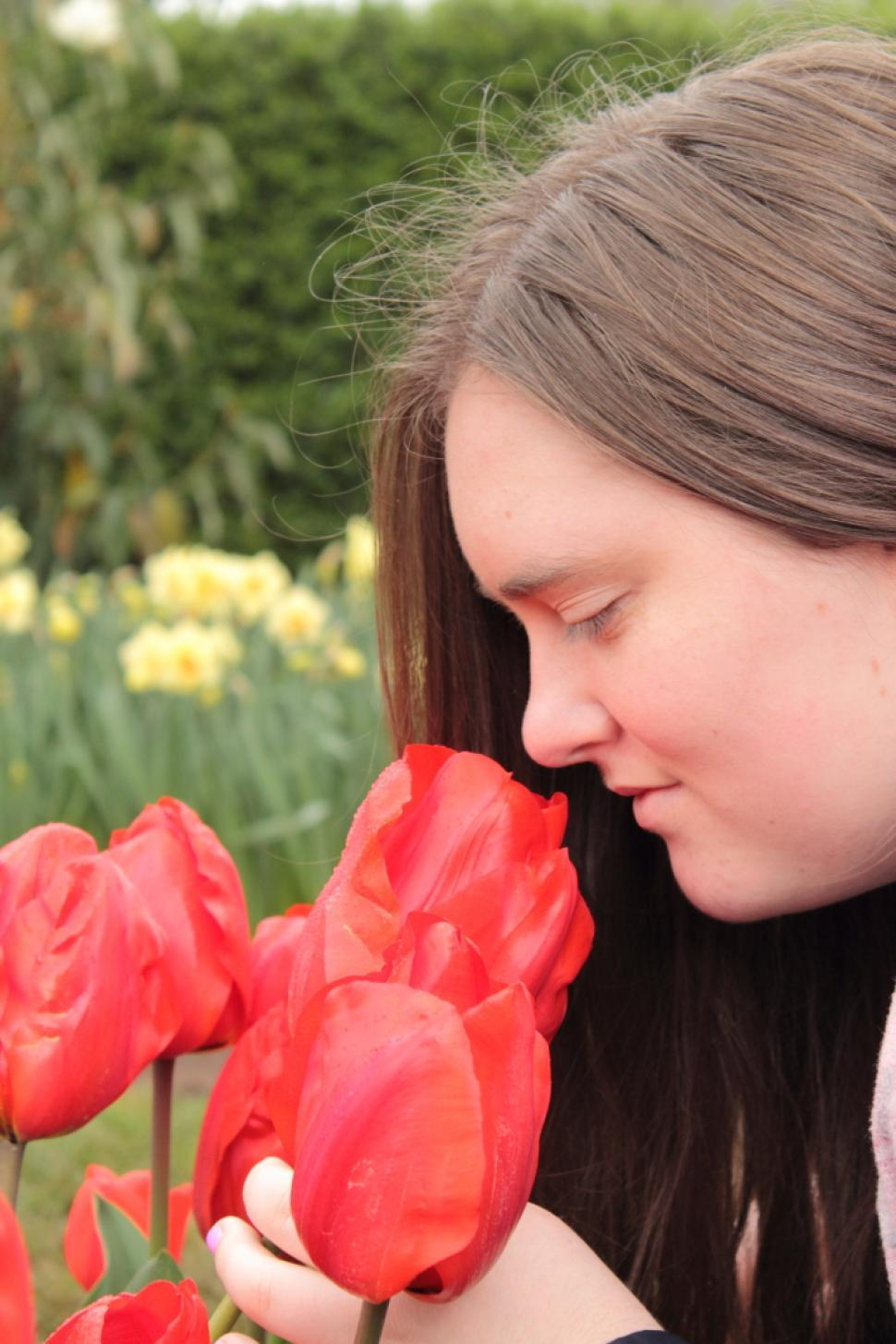 Download Free Stock HD Photo of Smelling the tulips Online