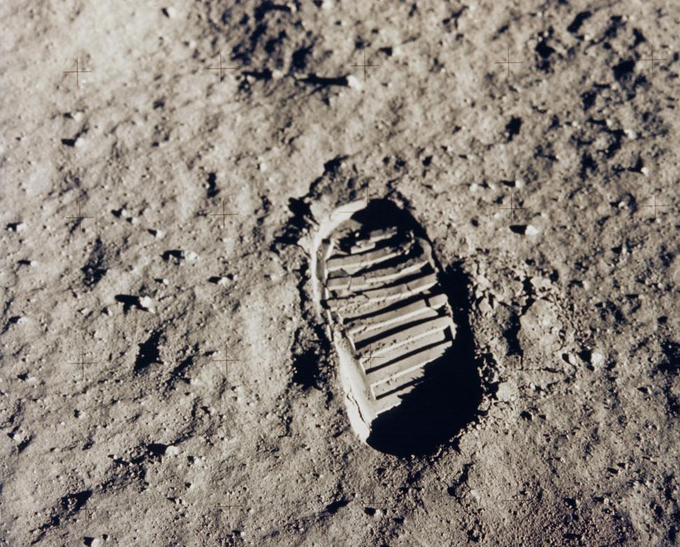 Download Free Stock Photo of Footprint on the Moon