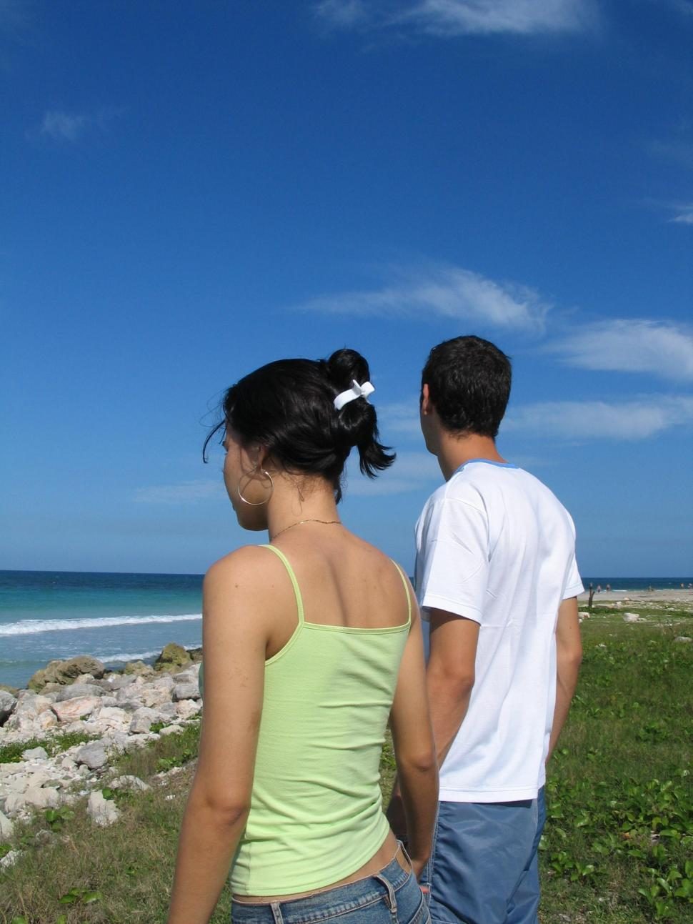 Download Free Stock Photo of Young Couple at Beach