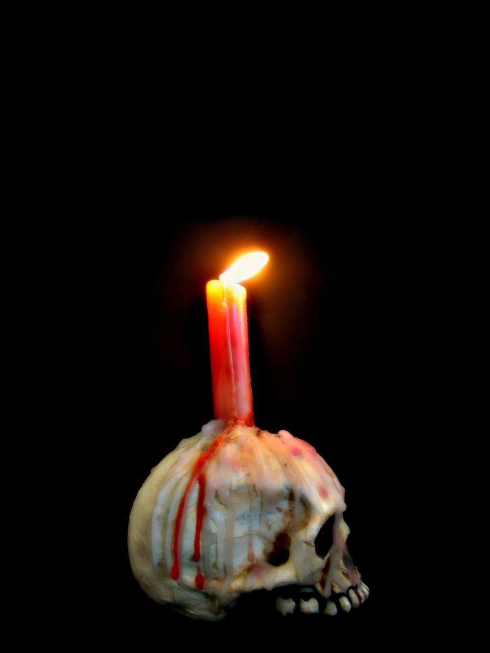 Download Free Stock Photo of Candle and Skull