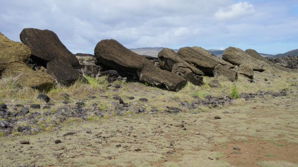Download Free Stock HD Photo of Knocked Over States on Easter Island Online
