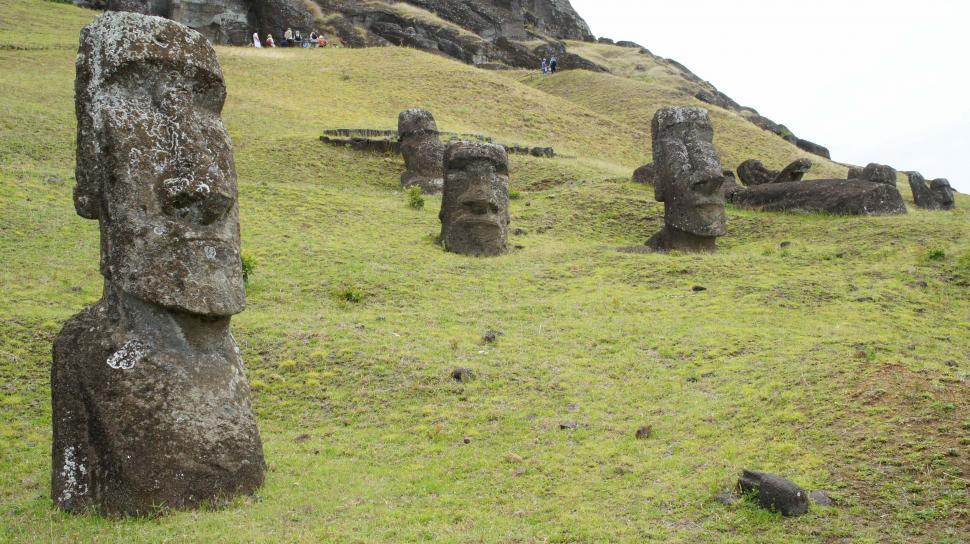 Download Free Stock Photo of Moai Head Statues of Easter Island
