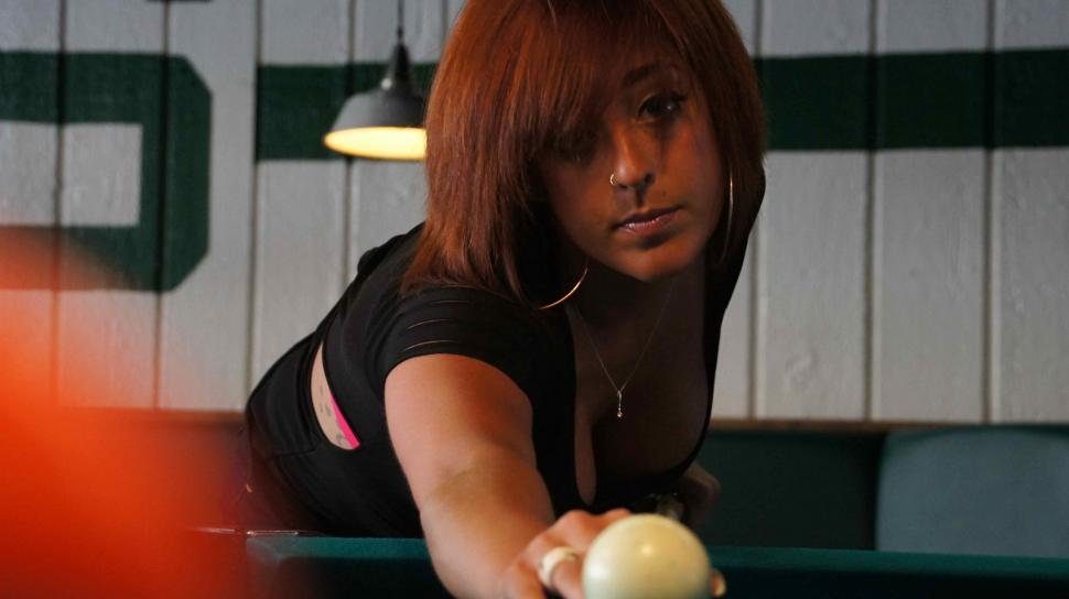 Download Free Stock HD Photo of Woman with Tattoos Playing Pool Online