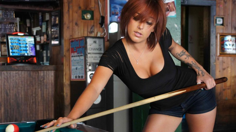 Download Free Stock Photo of Woman with Tattoos Playing Pool