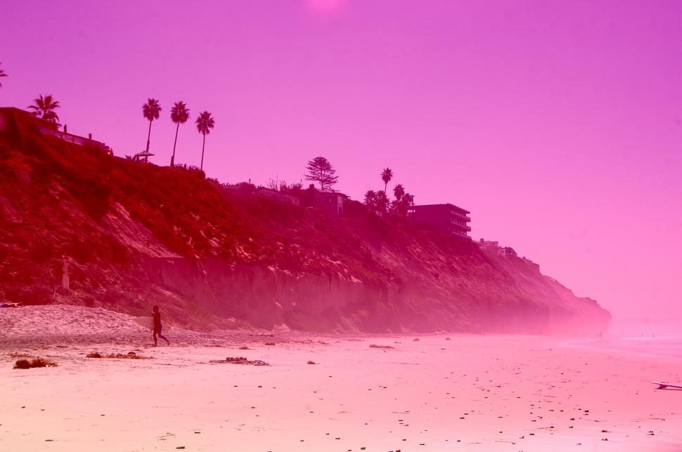 Download Free Stock Photo of Pink Sky Beach and the Ocean