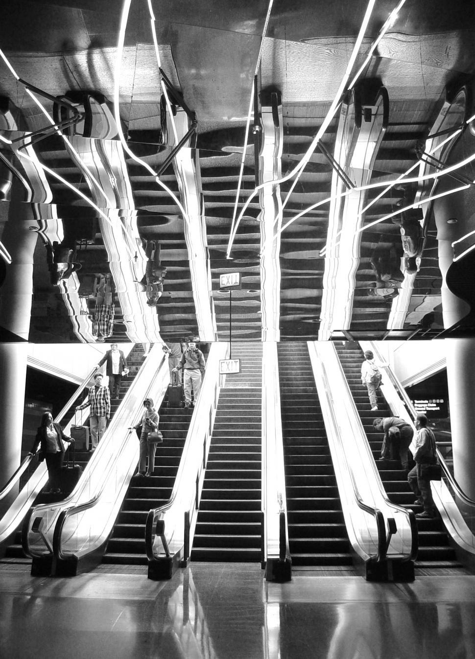 Download Free Stock Photo of Escalator Reflection at the Airport