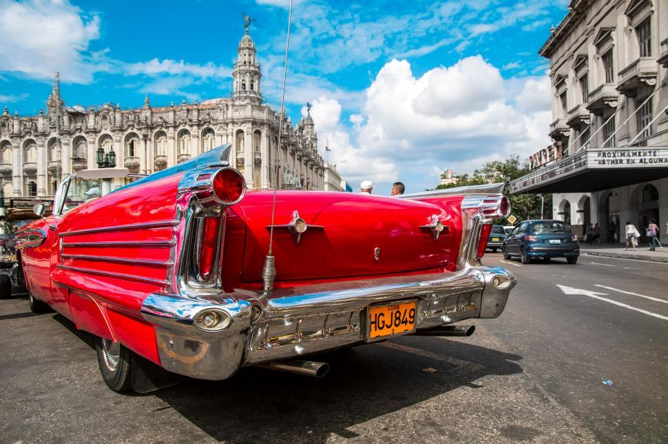 Download Free Stock Photo of Bright red car in Cuba