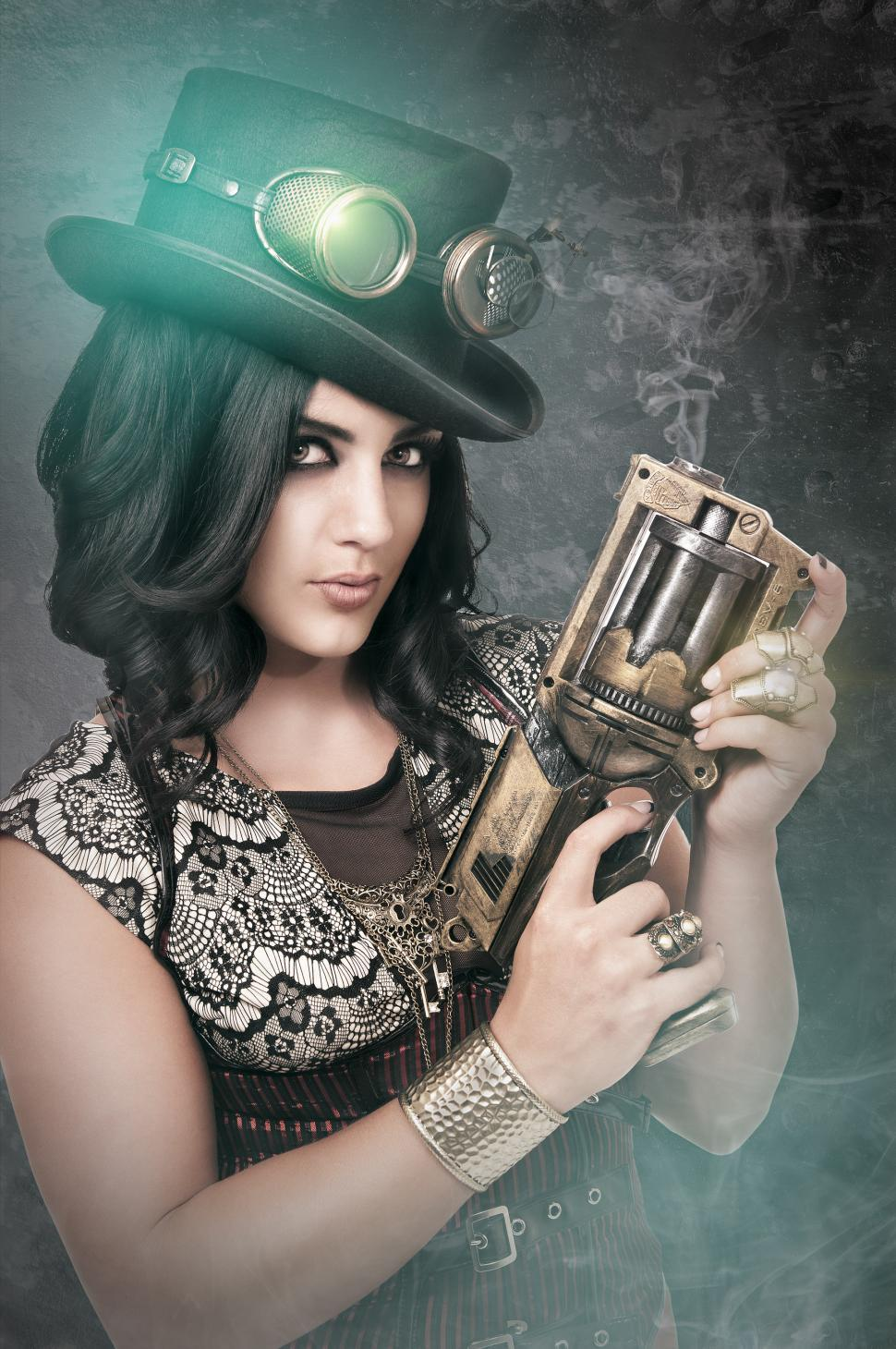 Download Free Stock Photo of Steampunk girl with gun