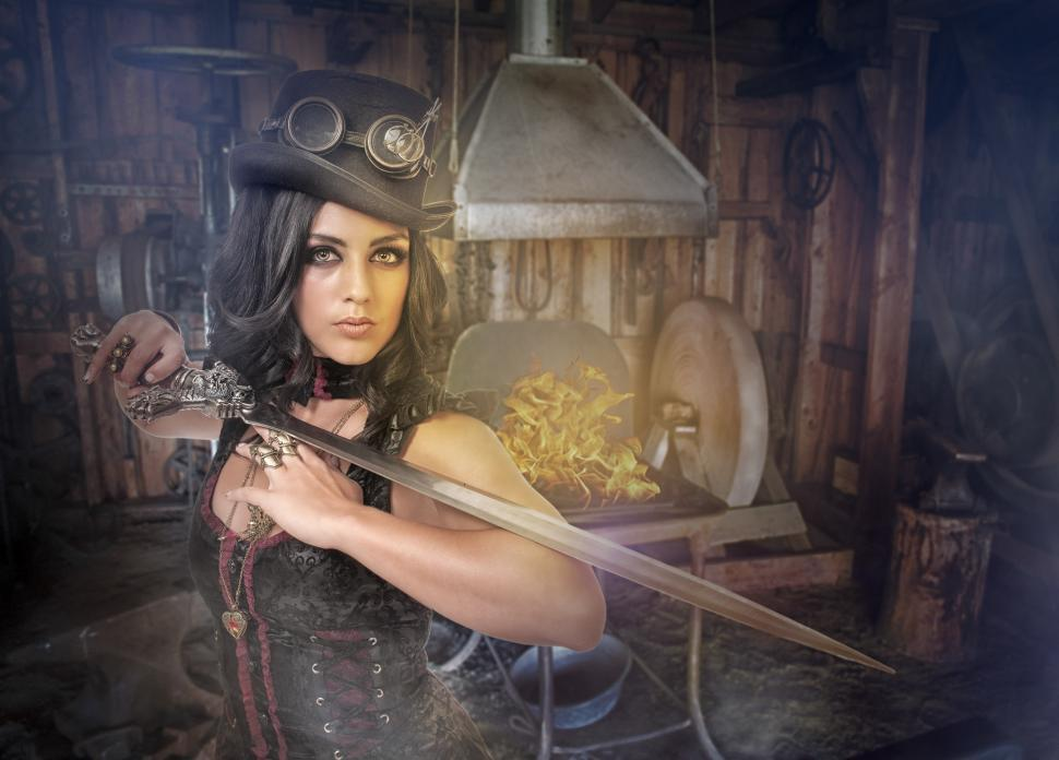 Download Free Stock Photo of Steampunk girl with sword