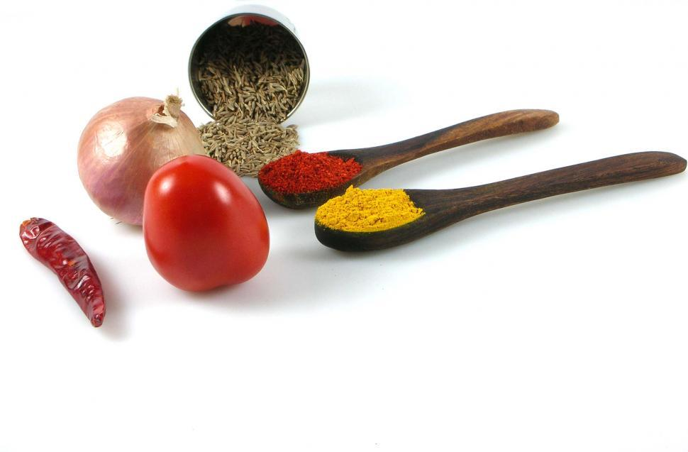Download Free Stock Photo of Spices and Tomato, Onion and Red Chili