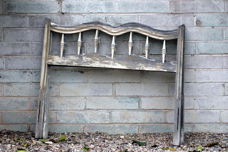 Download Free Stock Photo of Weathered headboard