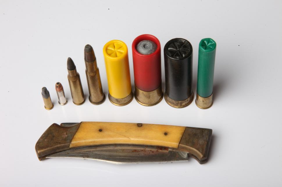 Download Free Stock Photo of Various bullets and knife