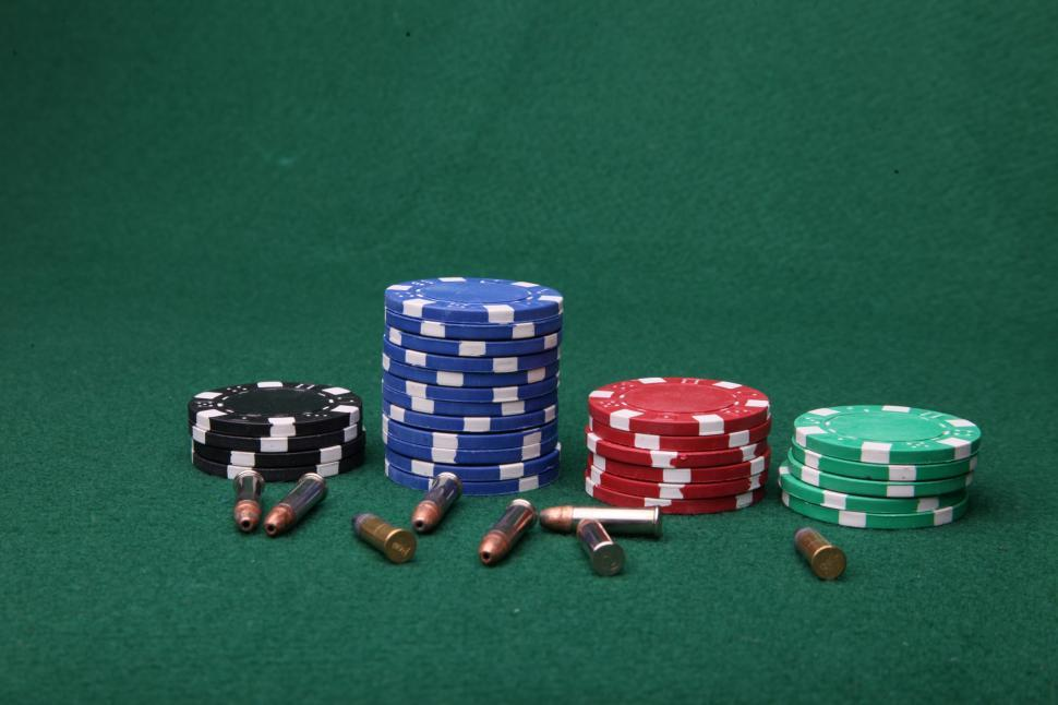 Download Free Stock HD Photo of Poker chips and bullets Online