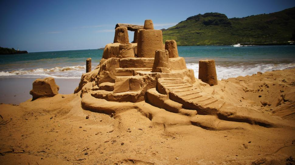 Download Free Stock Photo of Hawaii Sand Castle