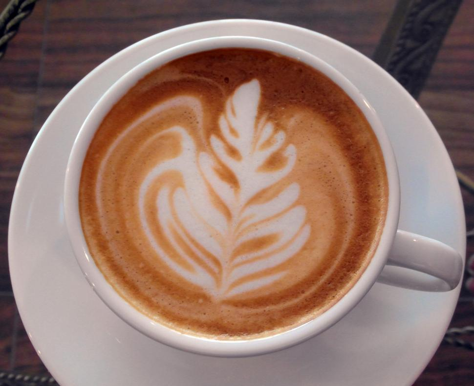 Download Free Stock Photo of Coffee Art Leaf Design