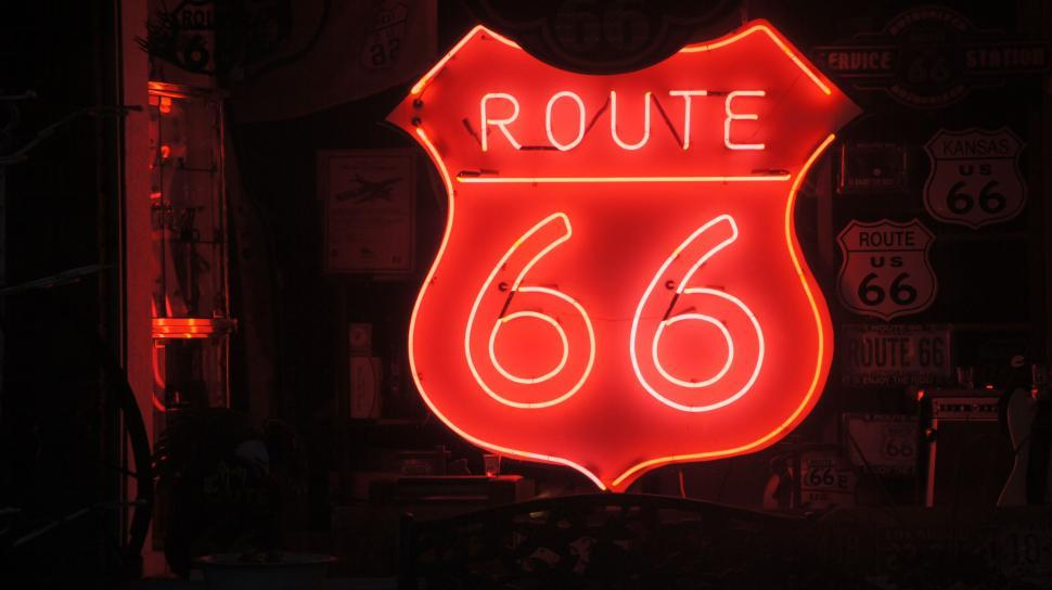 Download Free Stock HD Photo of Route 66 Neon Sign Online