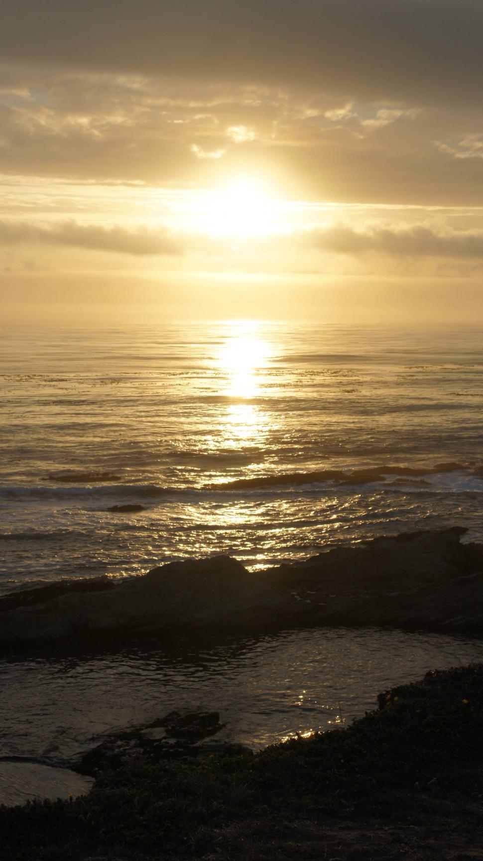 Download Free Stock Photo of California Coastline at Sunset