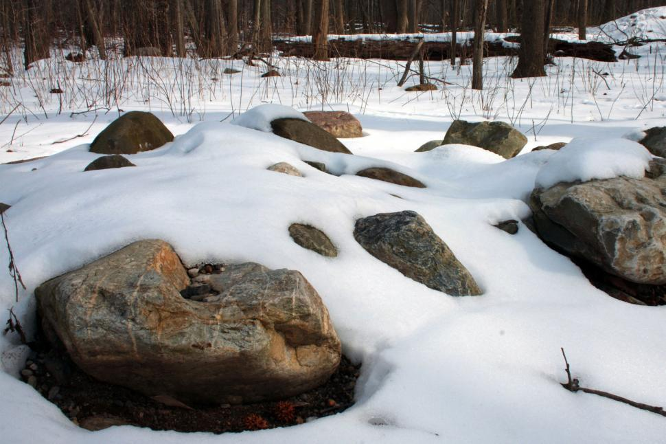 Download Free Stock Photo of Boulders in Snow